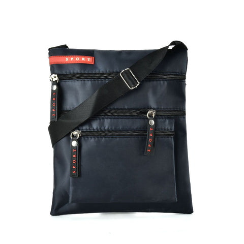 QQ2195 Navy - Zip Pocket Front Cross Body Bag With Shoulder Strap