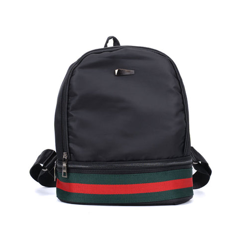 VK5280 Black  - Fashion Solid Patchwork School Bag Student Backpack