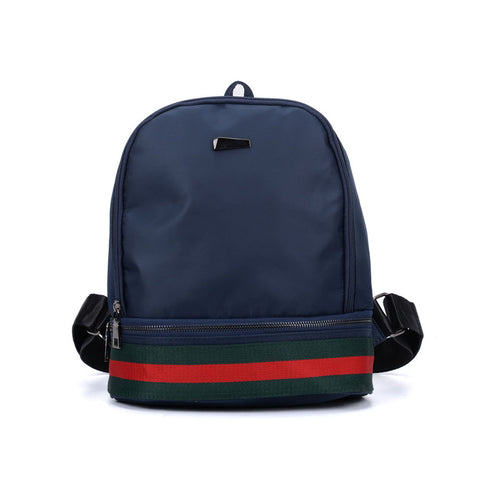 VK5280 Blue  - Fashion Solid Patchwork School Bag Student Backpack