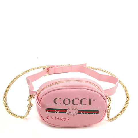 VK5398 Pink - Luxurious Waist Bag With Chain Strap