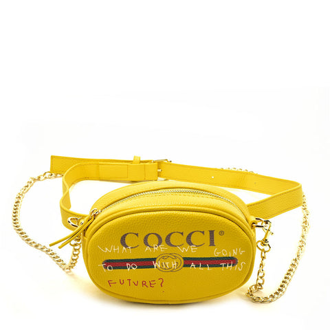 VK5398 Yellow - Luxurious Waist Bag With Chain Strap