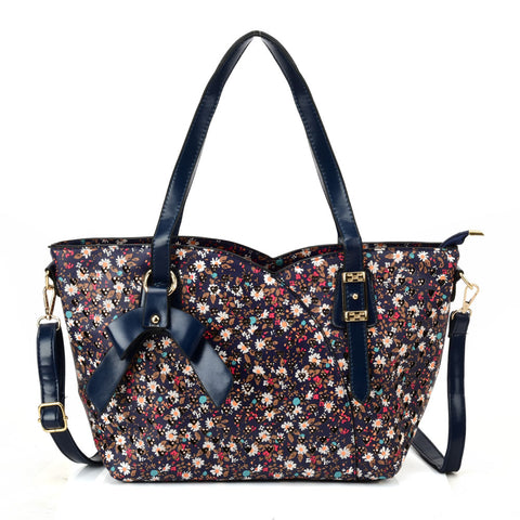 VK5504 Blue - Floral Tote Bag With Bow Design