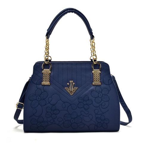 VK5514 Blue - Flower Embroidery Handbag With Metal Design