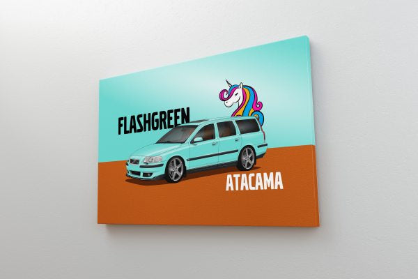 CarsEnth - Volvo V70R Canvas Art on Wall - Flash Green Atacama