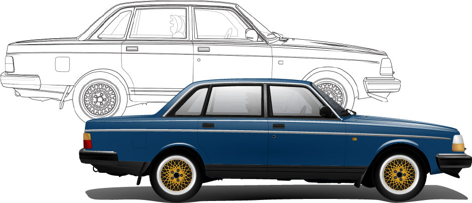 Volvo 240 Hand Sketch to Colored Car