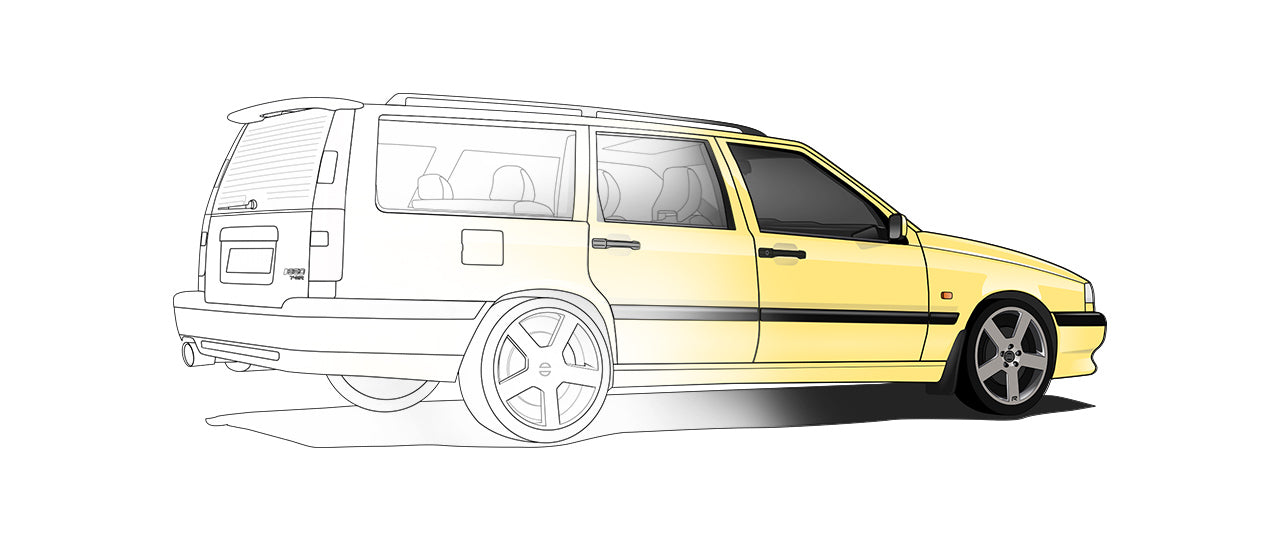 Volvo 850 Hand Sketch to Colored Car
