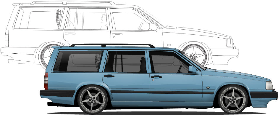 Volvo 940 Hand Sketch to Colored Car