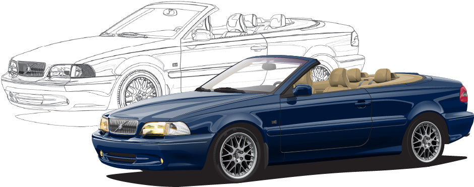 Volvo C70 Cabrio Hand Sketch to Colored Car