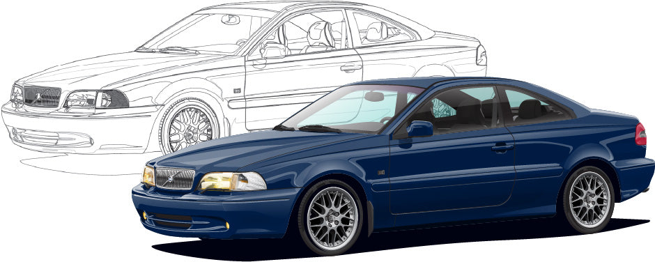 Volvo C70 Coupe Hand Sketch to Colored Car