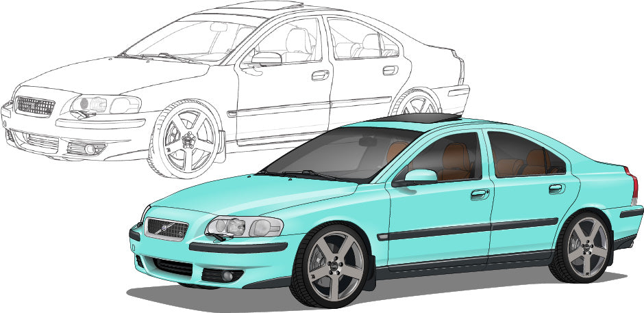 Volvo S60R Hand Sketch to Colored Car