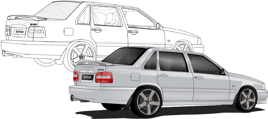 Volvo S70 Hand Sketch to Colored Car