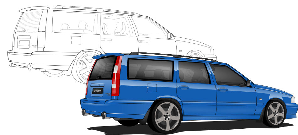 Volvo V70 Hand Sketch to Colored Car