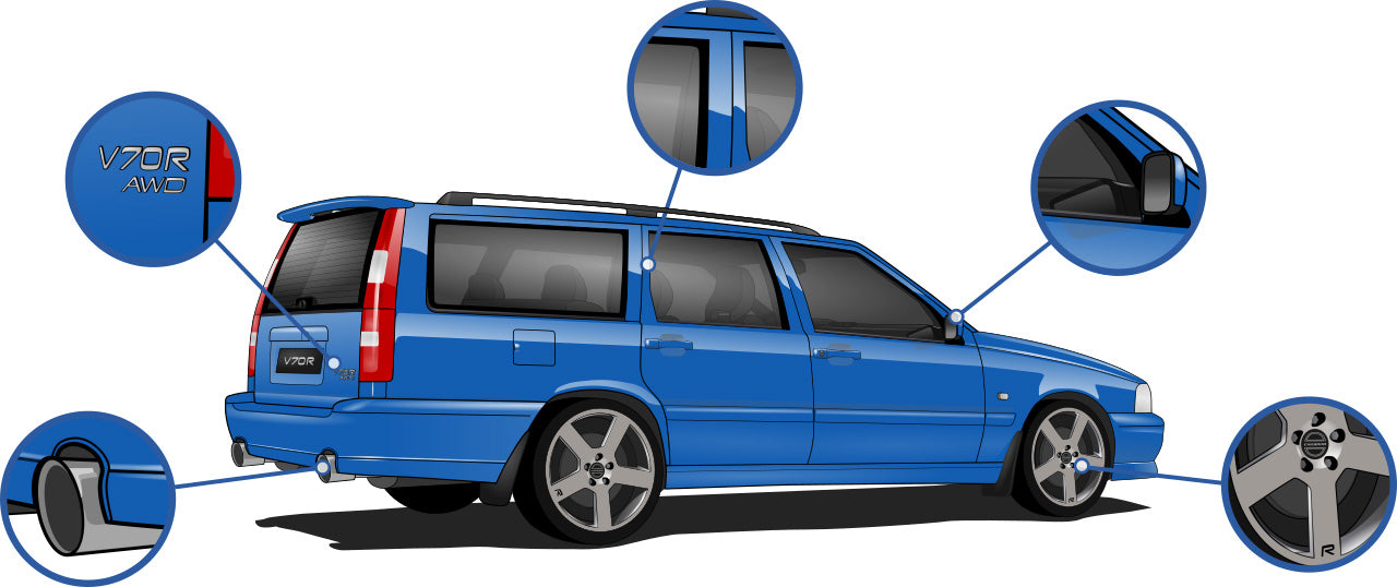 Volvo V70 ph.I R T-5R Laser Blue Cars Enth Canvas T-Shirt Art