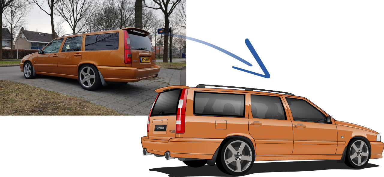 Volvo V70 ph.I R T-5R Saffron Cars Enth Canvas T-Shirt Art