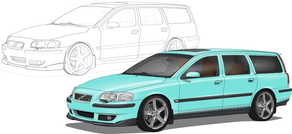Volvo V70R Hand Sketch to Colored Car