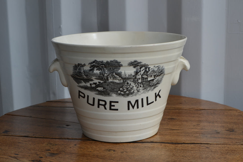 'The flock drive' White ironstone Pure Milk Pail