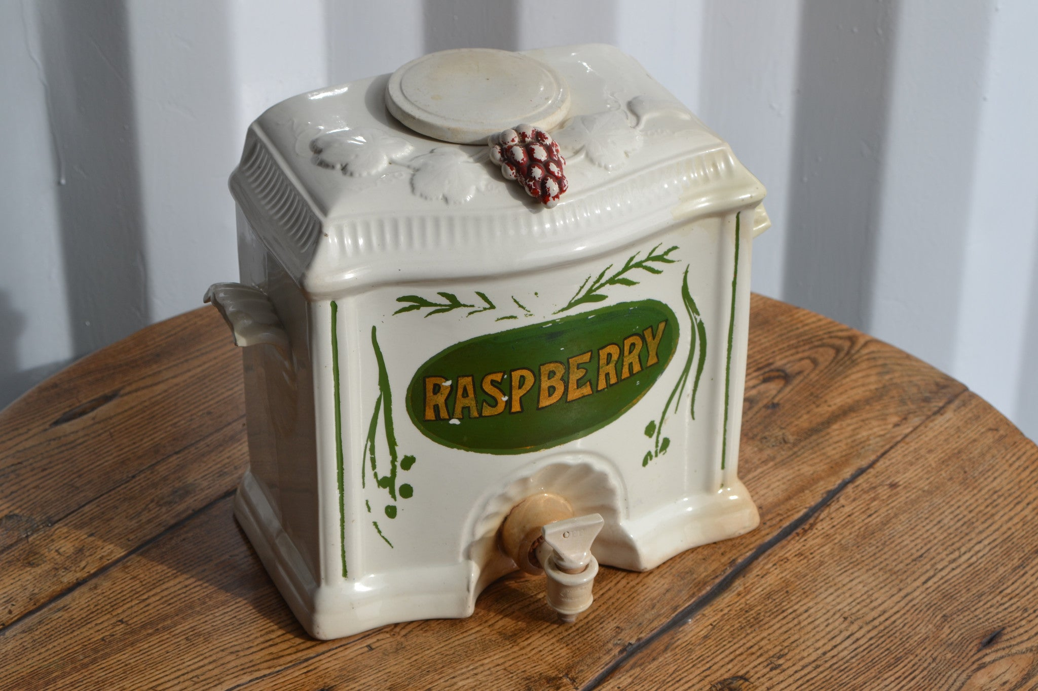 Victorian Wedgwood Raspberry cordial dispenser