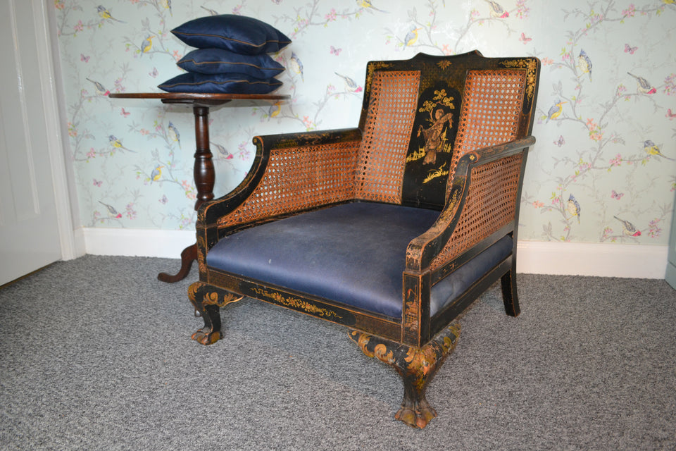 A Chinoiserie Bergere chair