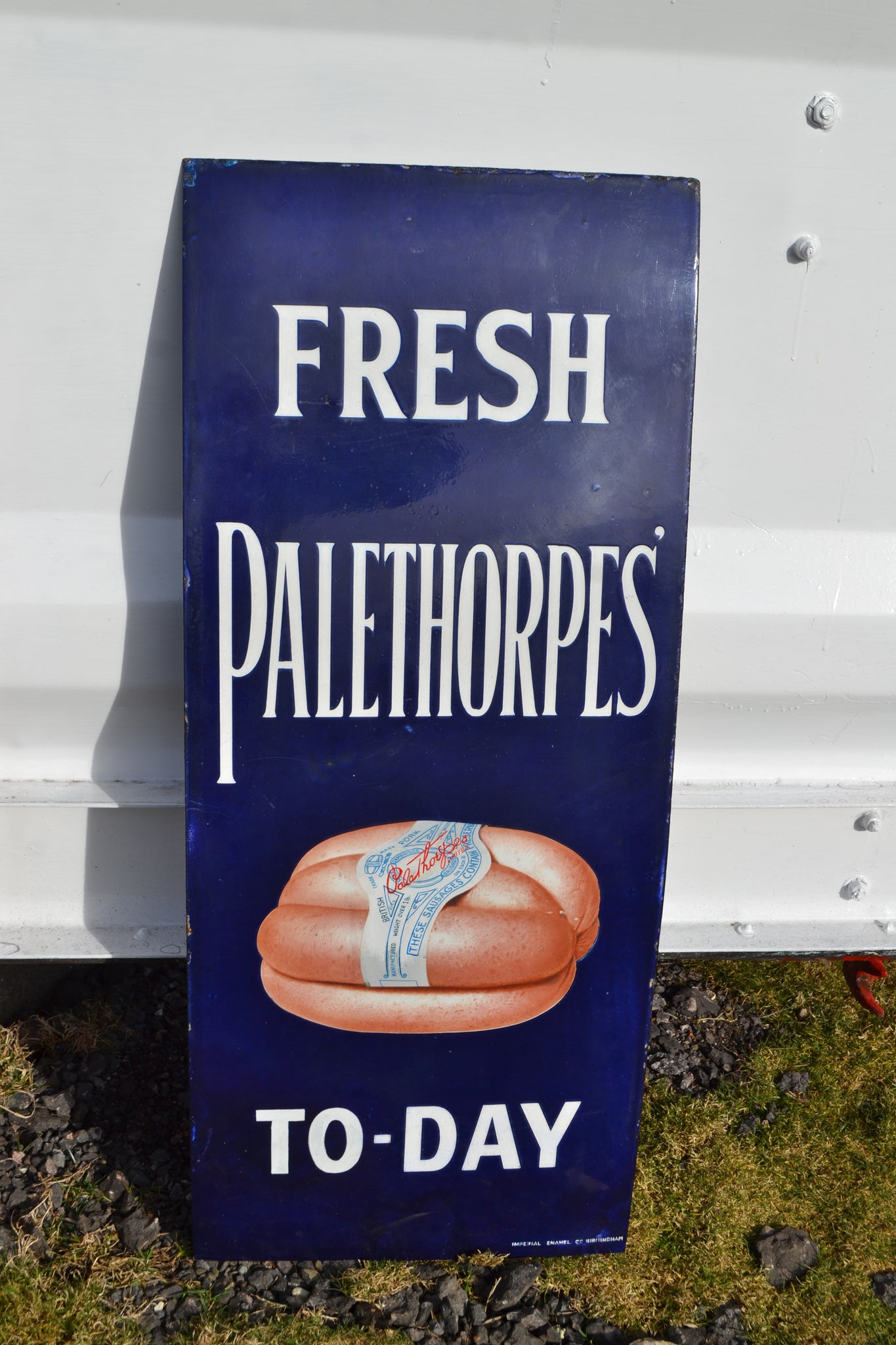 A Palethorpes sausages enamel sign - Some Restoration
