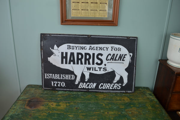 Harris Bacon Curers Pig enamel sign