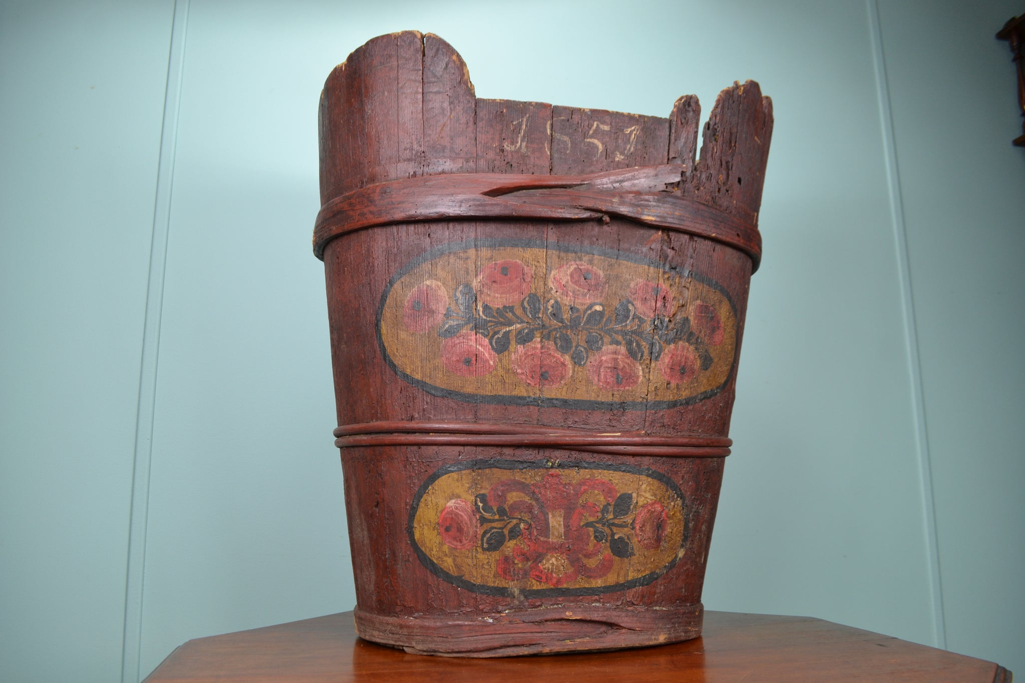 Large rustic wooden flower bucket - 1851