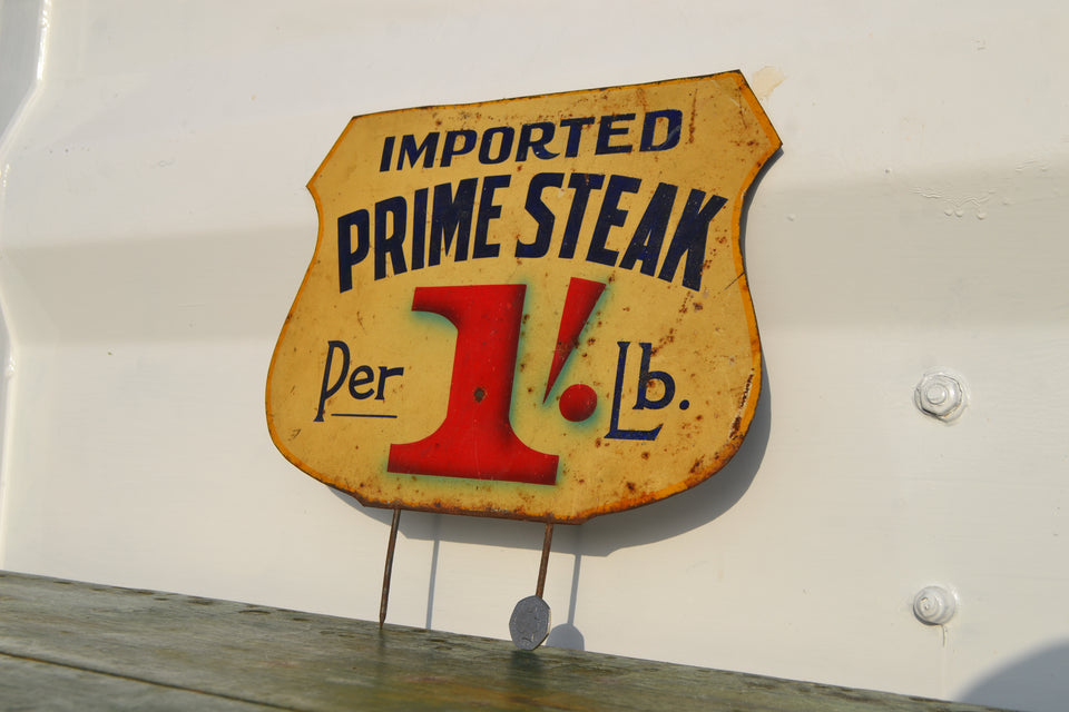Large Toleware 'Prime Steak' butchers label