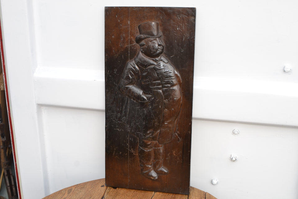 A Victorian carved mahogany panel - 'The Fat Boy' from The Pickwick Papers by Dickens