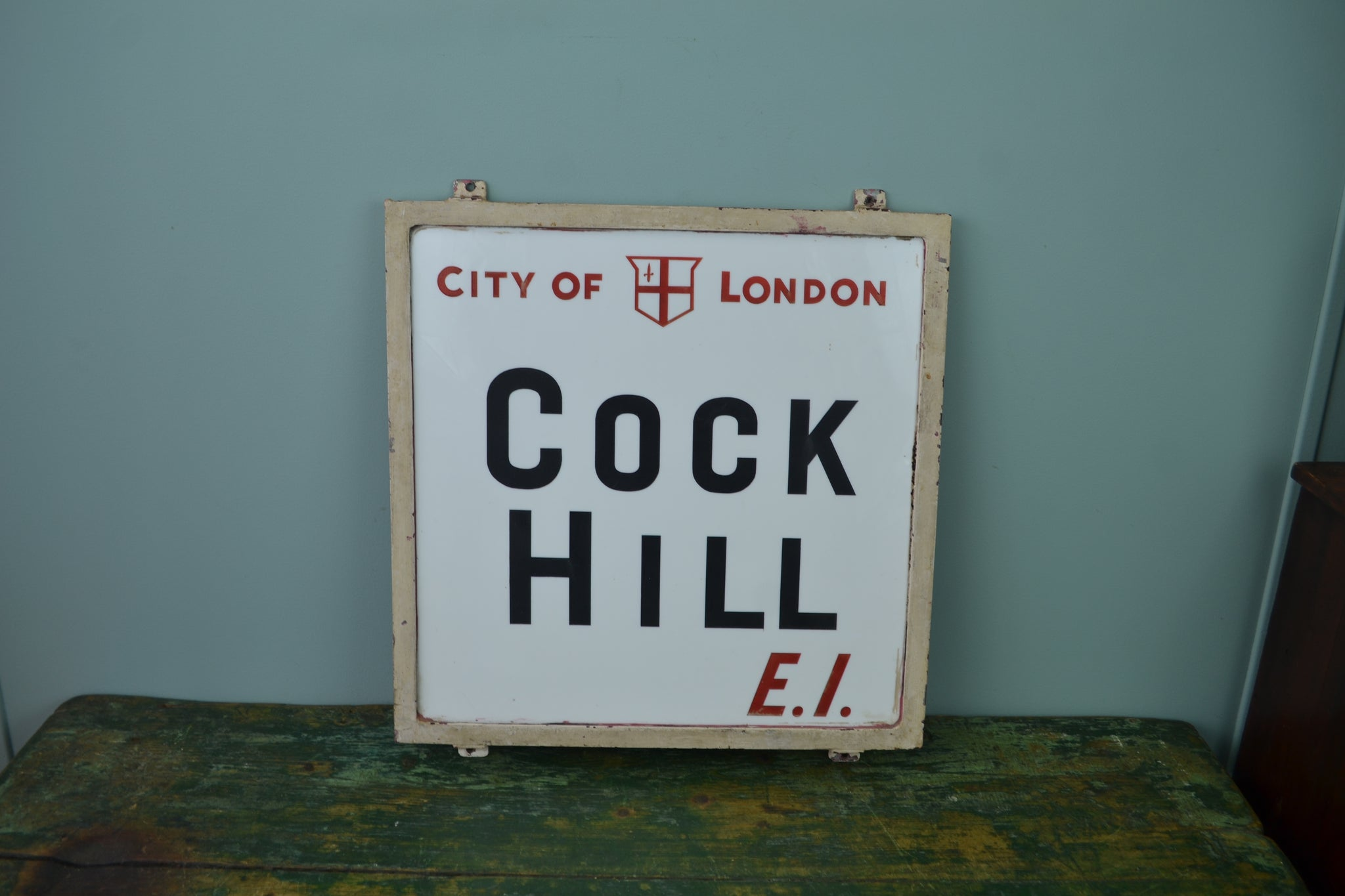 City of London milk glass sign - Cock Hill