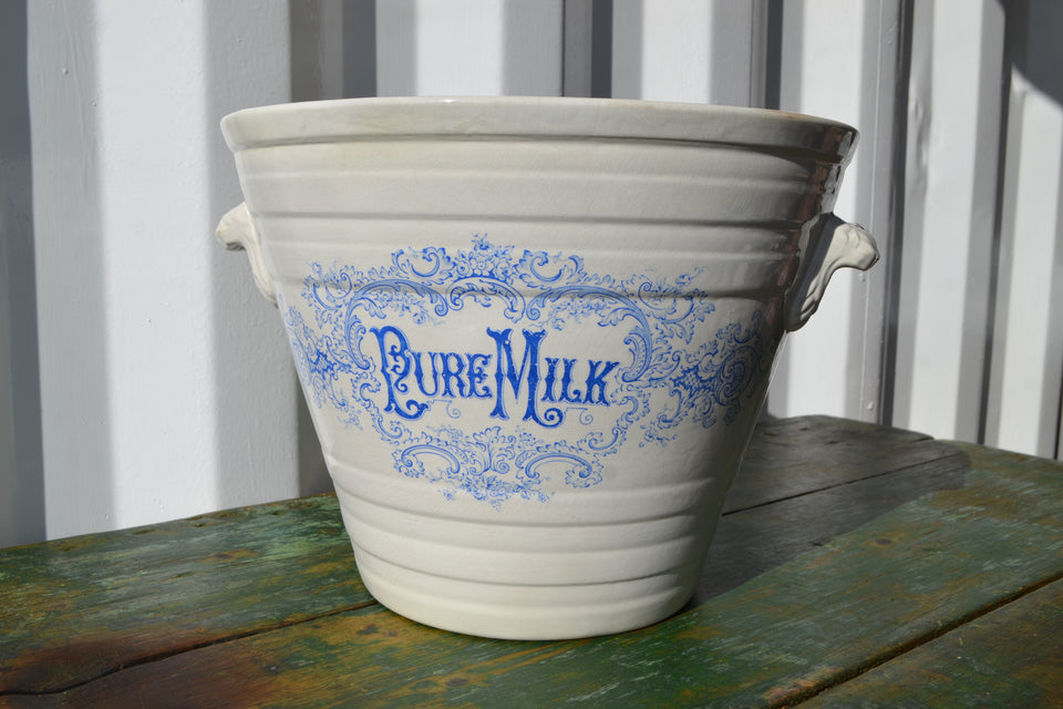 An antique blue transfer 'Pure Milk' Pail