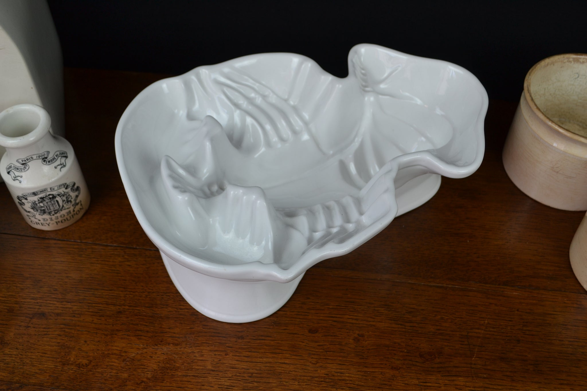 Large vintage white ironstone lobster mold