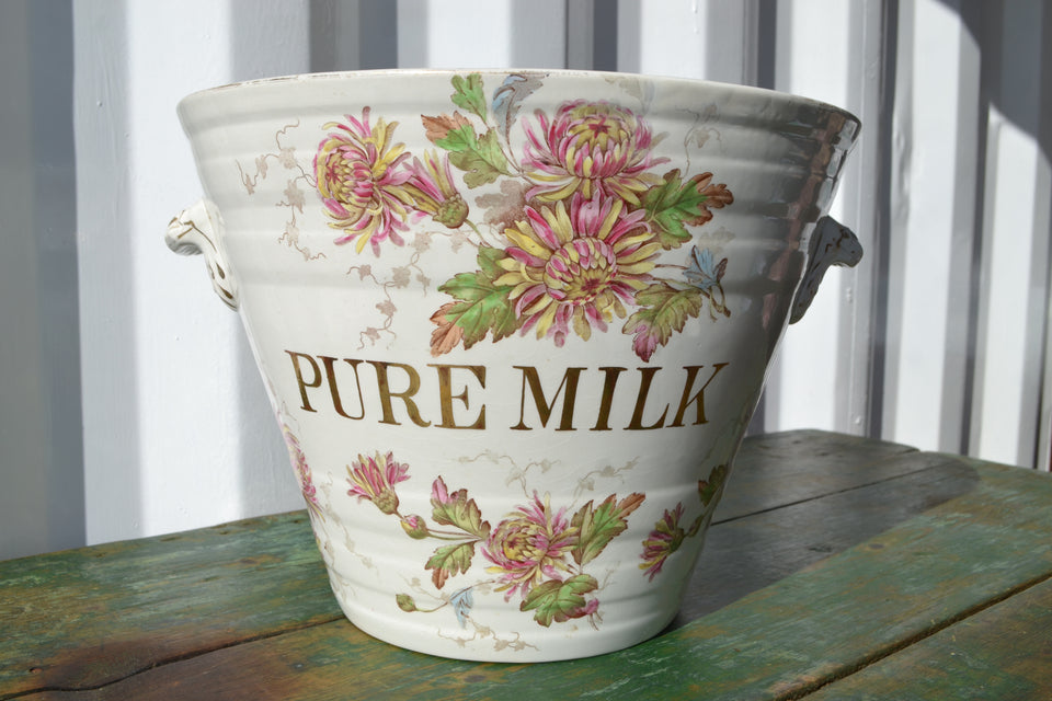 An antique Florentine 'Pure Milk' Pail by Ashworth & Bros