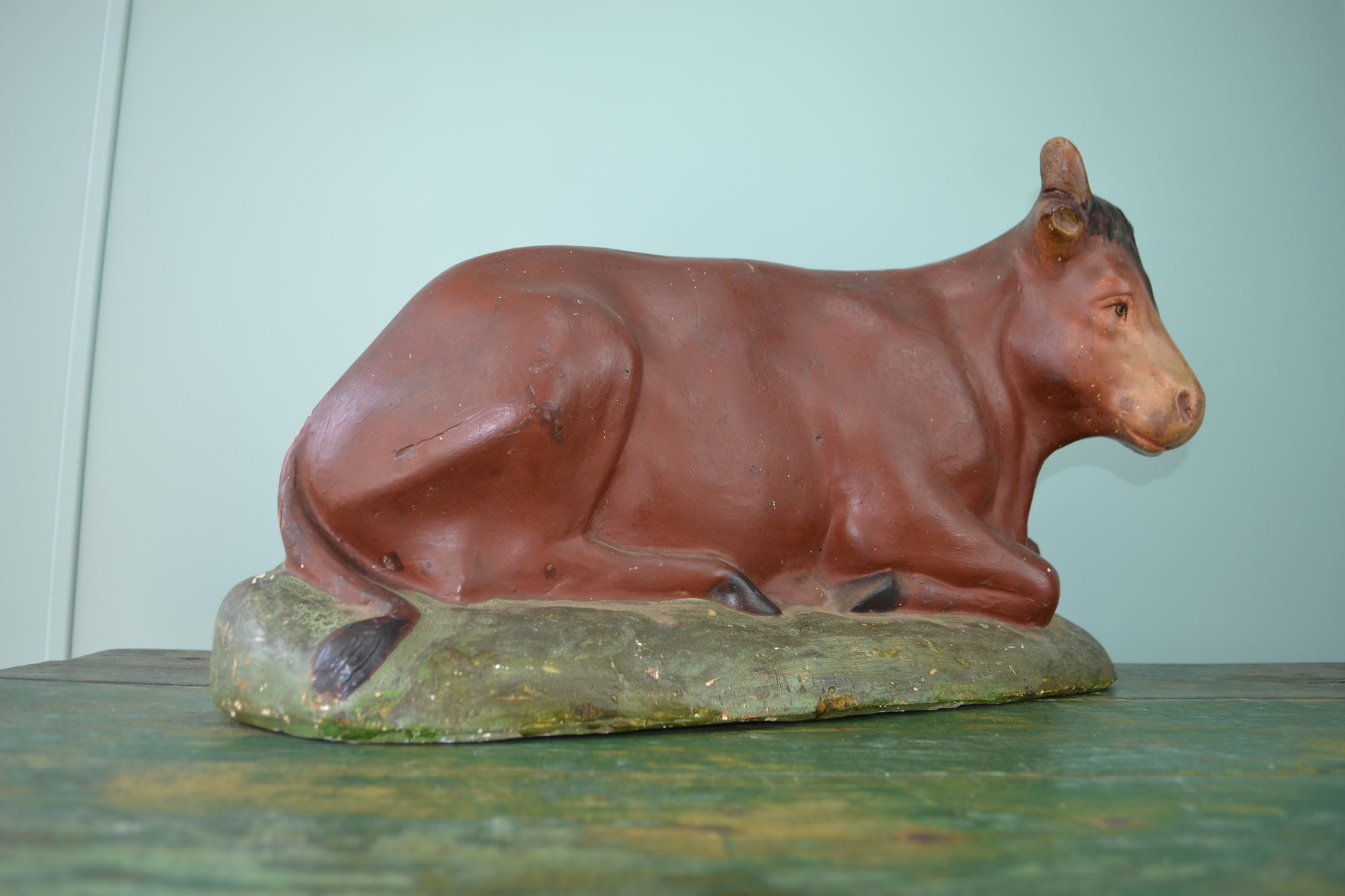 Large butchers display chalkware cow