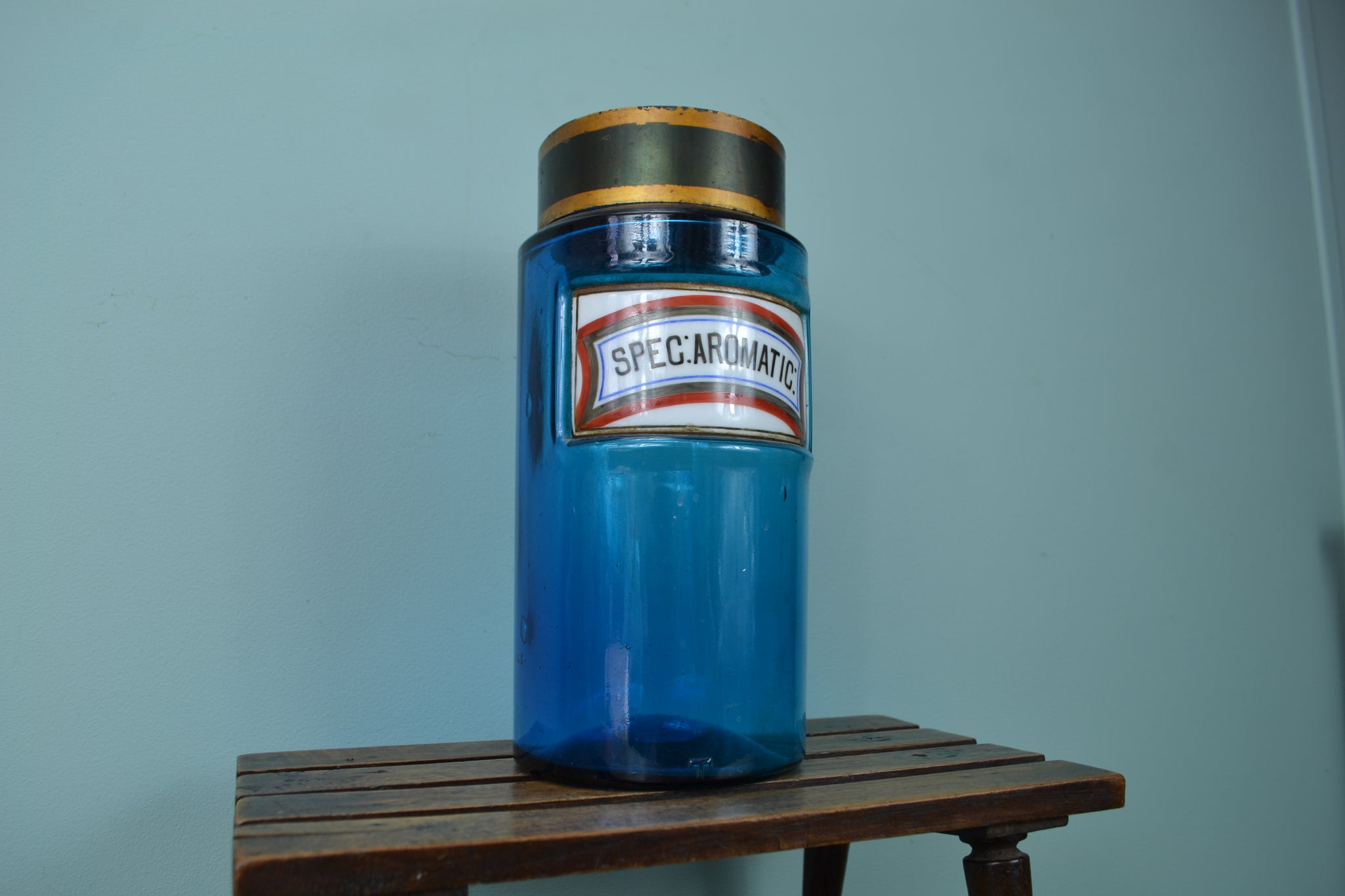 Antique Blue Apothecary Jar with Ceramic label