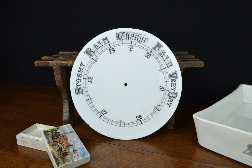 Victorian Milk Glass Aneroid Barometer Dial
