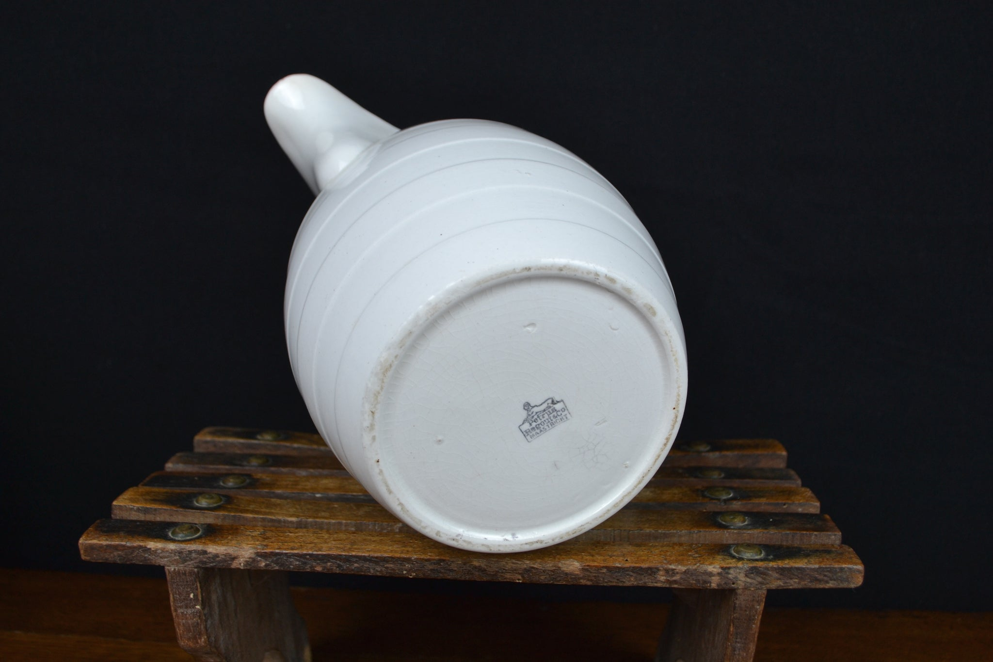 Antique banded white ironstone jug - Petrus Regout, Maastricht