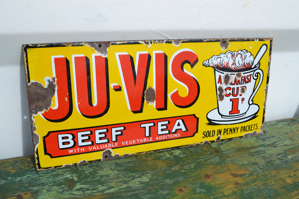 A Ju-Vis Beef Tea enamel sign