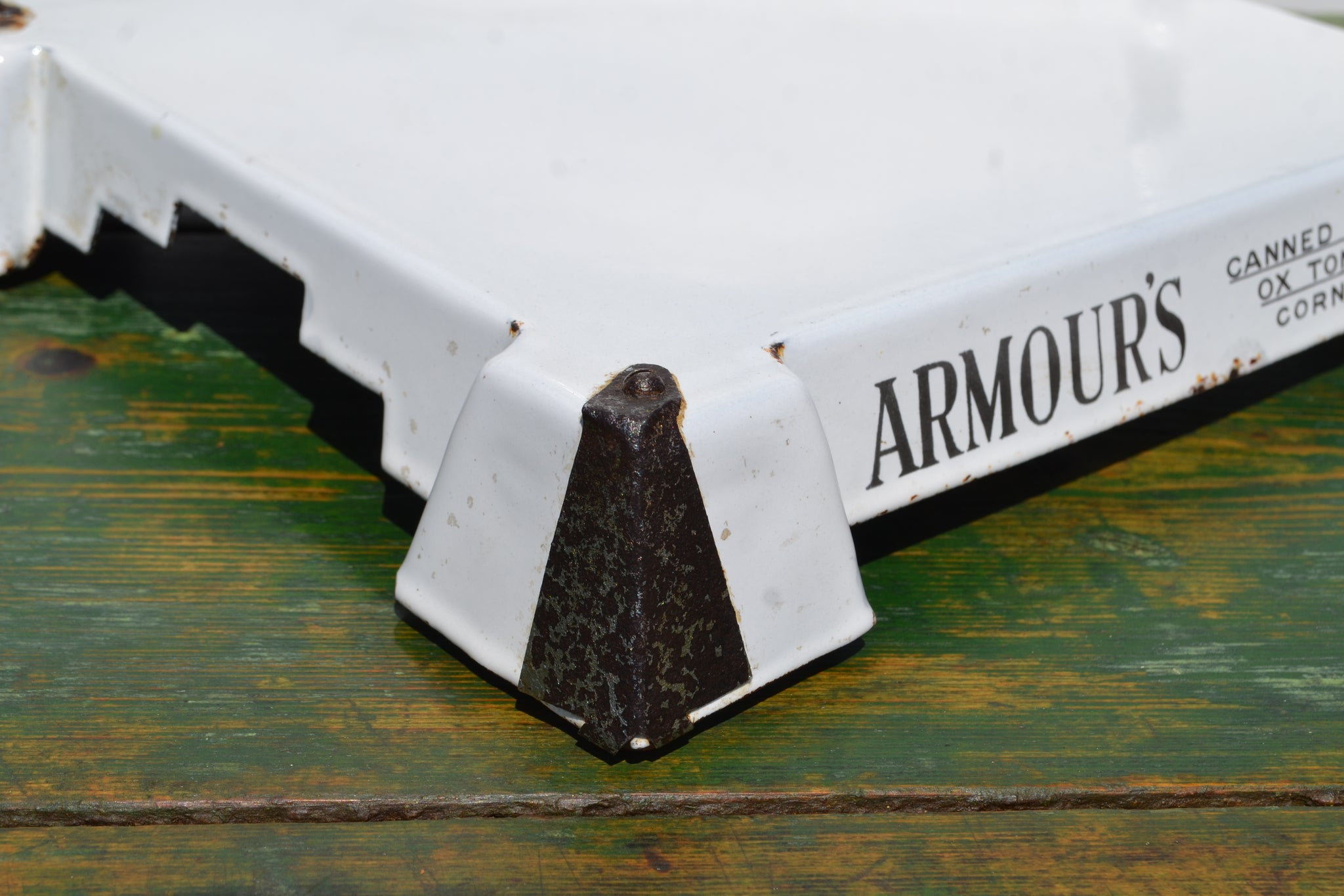 Enamel Armour's meats shop display plinth