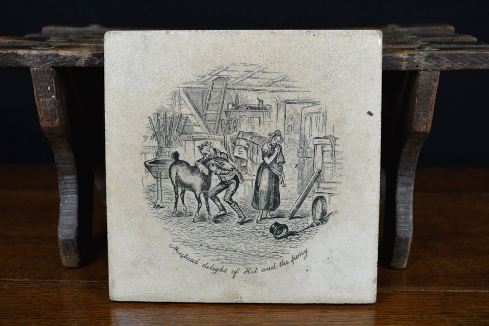Victorian 'Kit and the Pony' advertising trivet tile