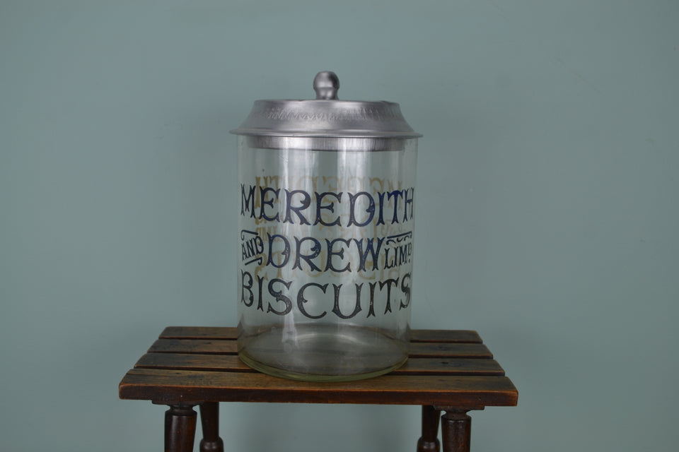Antique Double Sided Meredith & Drew Biscuit Jar