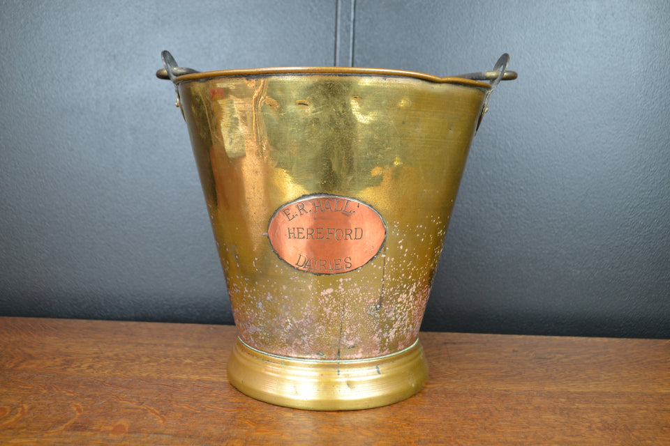 Antique Hereford dairies brass pail