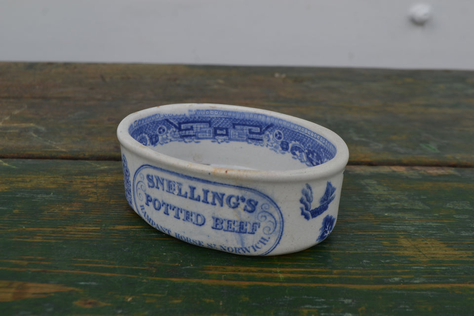 An antique snelling's potted beef pot