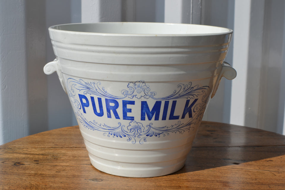 Blue Pure Milk White Ironstone milk pail