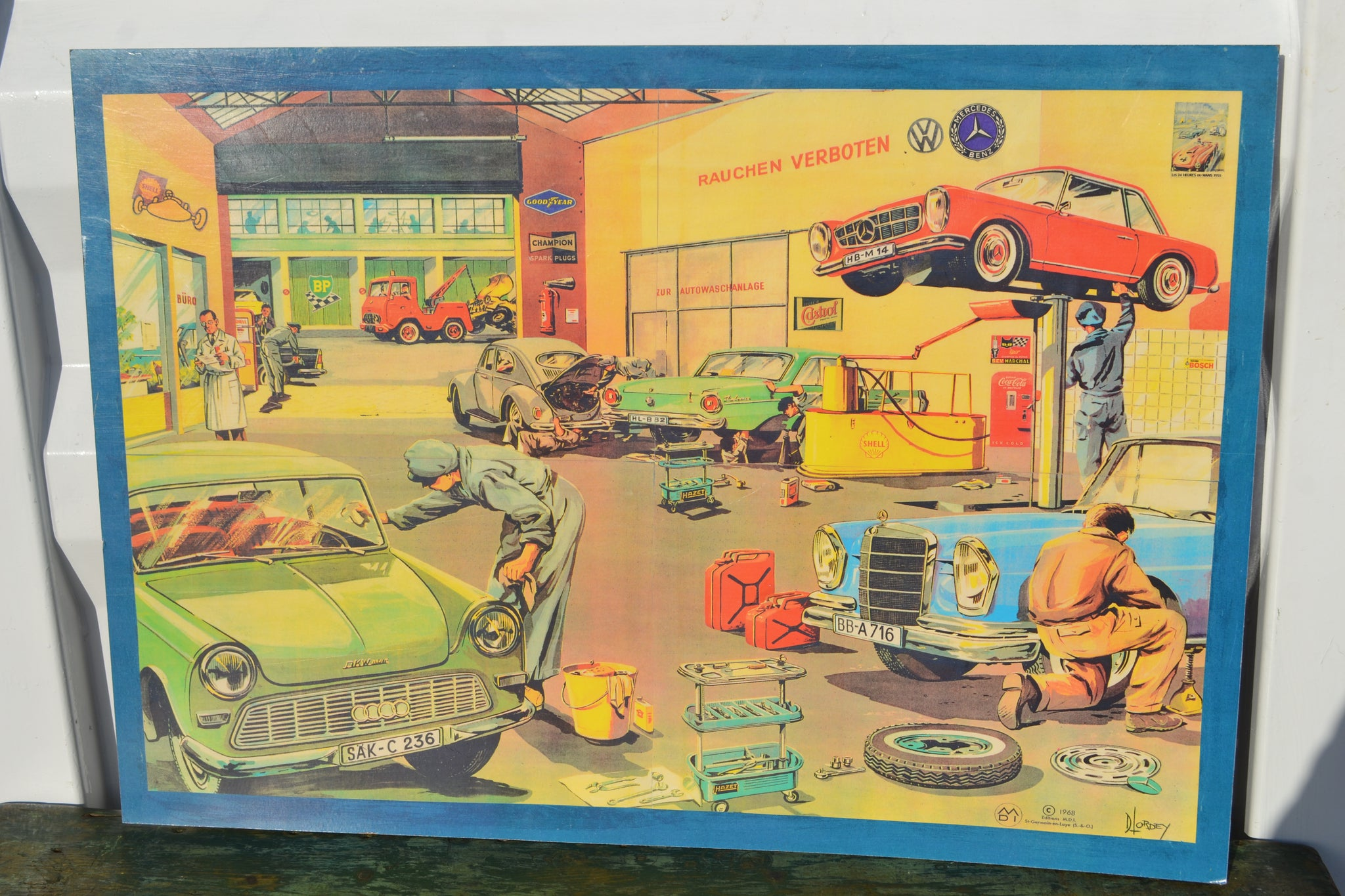 Autoreparaturwerkstätte - 'The Garage' educational print by D Lordey - 1968