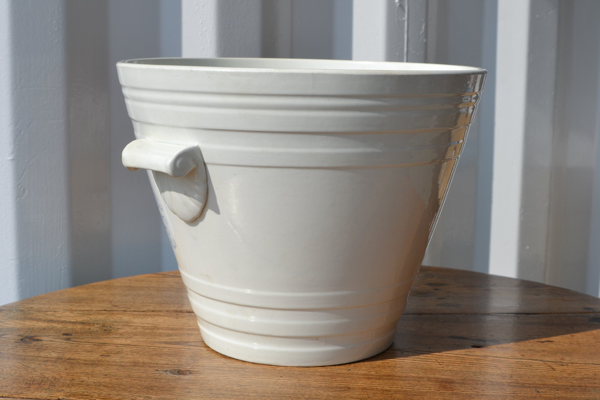 A white ironstone pottery milk pail - Blue Pure Milk transfer