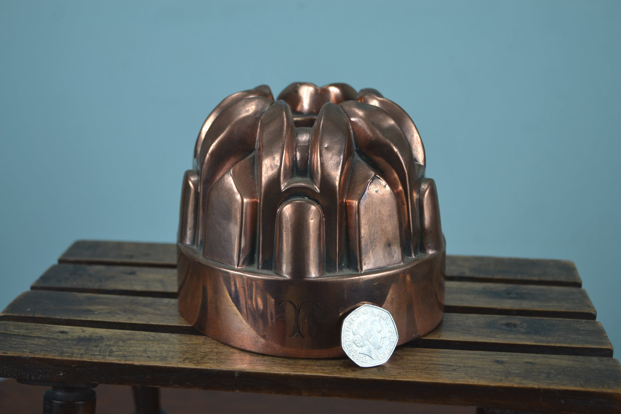 Angular Victorian copper jelly mould