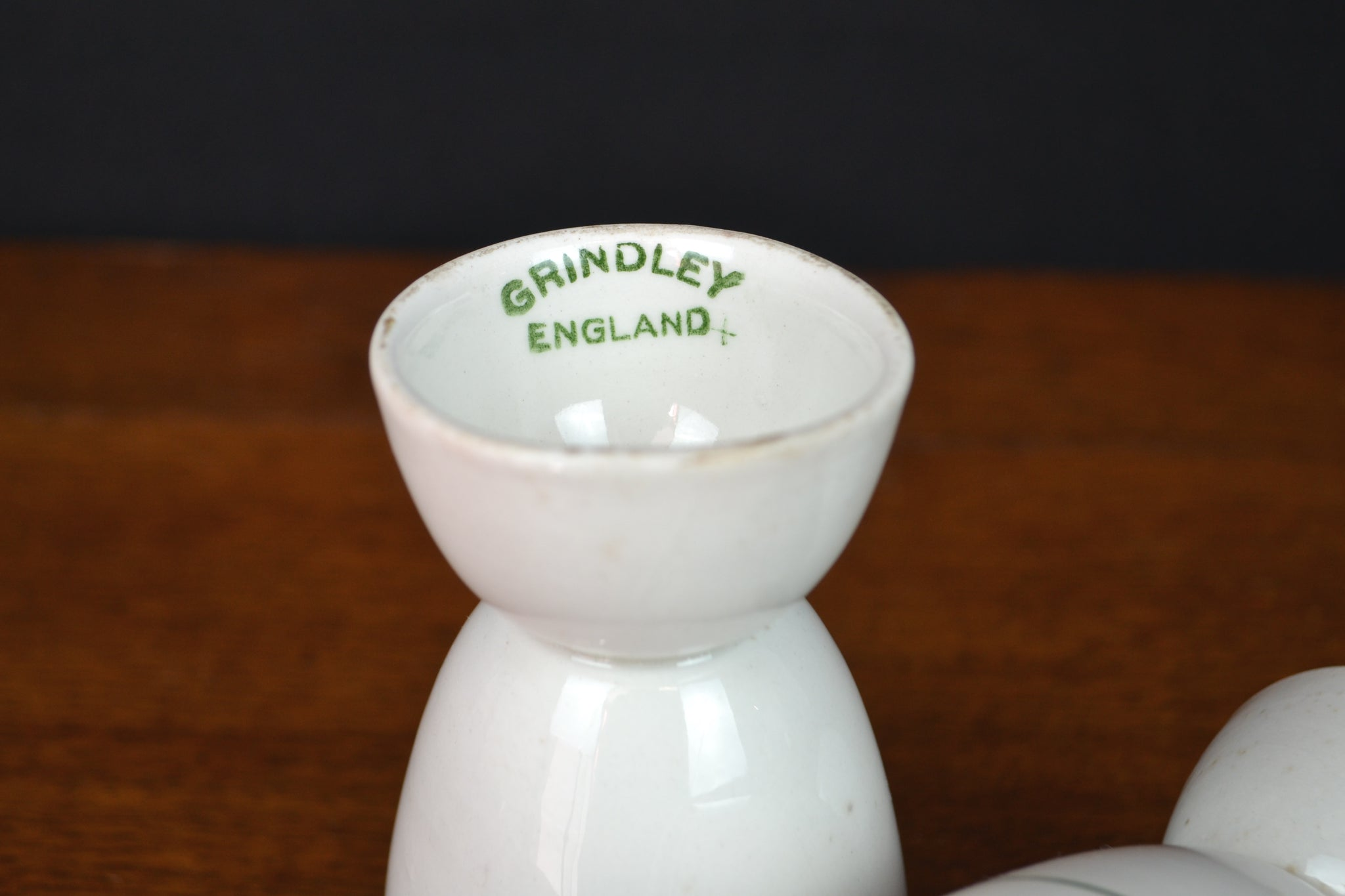 Grindley green stripe double egg cups