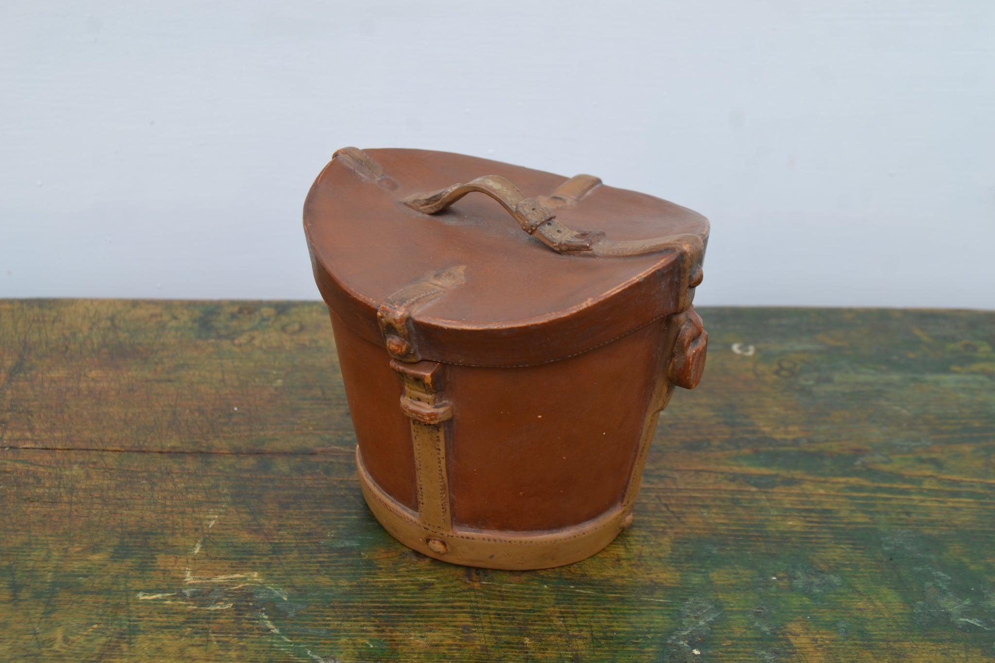 Victorian Terracotta Hat box tobacco jar