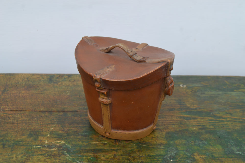 A Victorian Terracotta Hat box tobacco jar