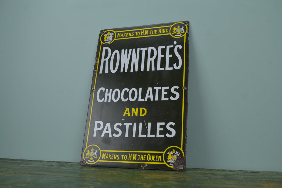 Green Rowntree's Chocolates & Pastilles enamel sign