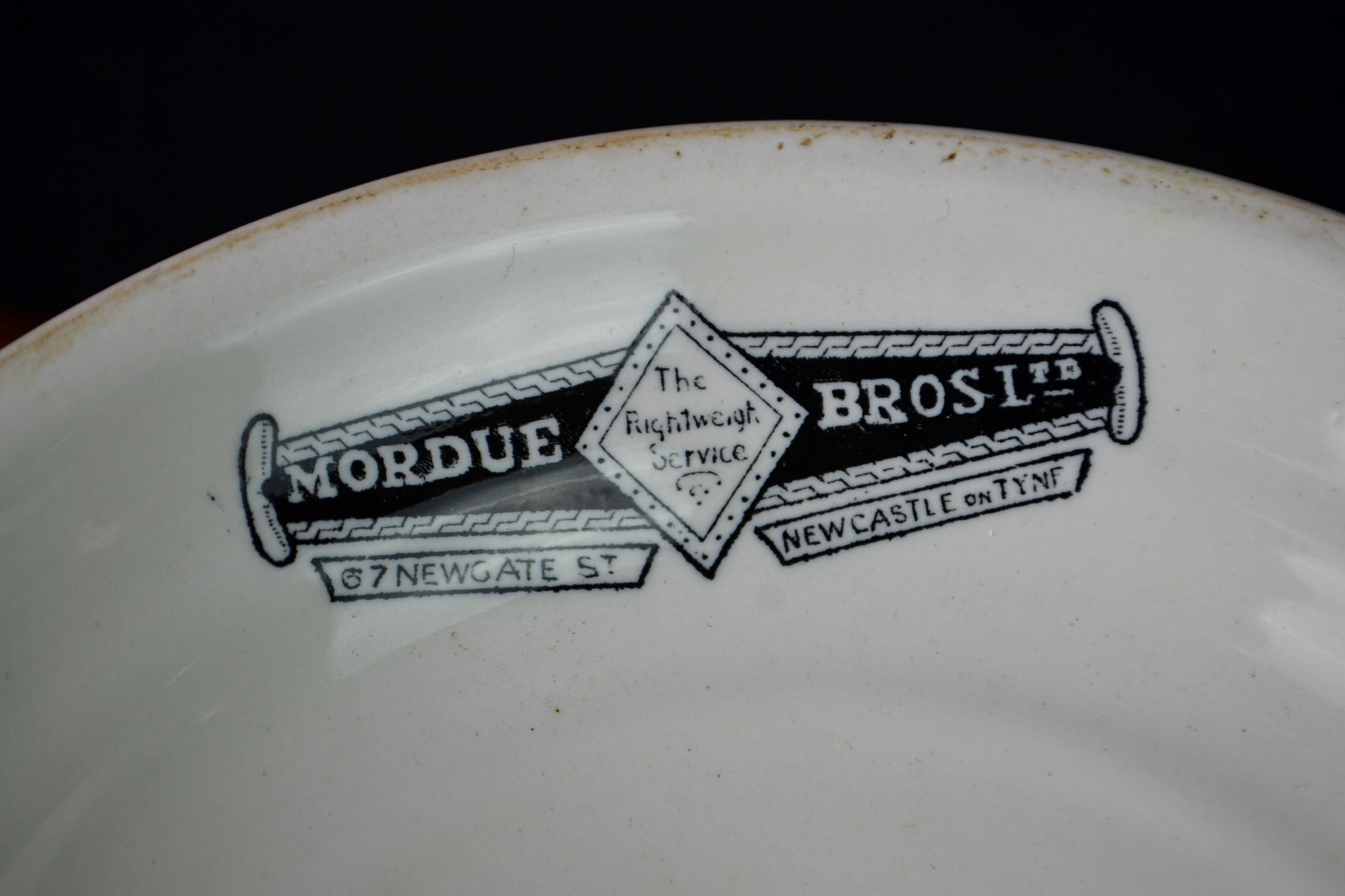 Antique Mordue Bros Ltd. ironstone ham stand